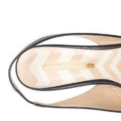حذاء فلات نيكولاس كيركوود بيا جلد أسود بحزام للكاحل مقاس 39