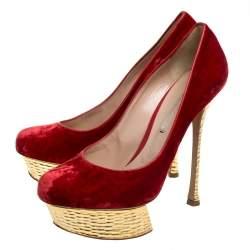 حذاء كعب عالي نيكولاس كيركود قطيفة أحمر/ذهبي نعل سميك مقاس 37.5