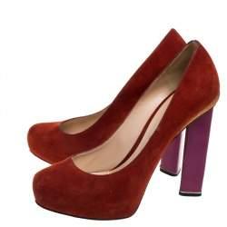 حذاء كعب عالى نيكولاس كيركوود نعل سميك سويدى أحمر مقاس 40