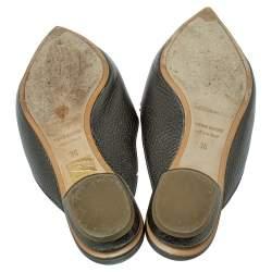 حذاء مولز نيكولاس كيركوود فلات بيا جلد أخضر مقاس 36