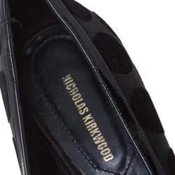 Nicholas Kirkwood Black Velvet And Patent Leather Pointed Toe Flats Size 36