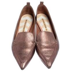 Nicholas Kirkwood Metallic Leather Beya PointedToe Loafers Size 37