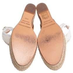 Nicholas Kirkwood White Lace Wedge Platform Ankle Strap Espadrilles Size 35.5
