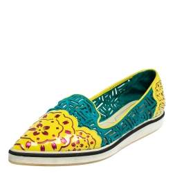 Nicholas Kirkwood Multicolor Patent Leather And Suede Slip On Sneakers Size 37