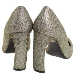 حذاء كعب عالى نيكولاس كيركوود كعب عريض مقدمة مدببة لوركس وغليتر ذهبى مقاس 38