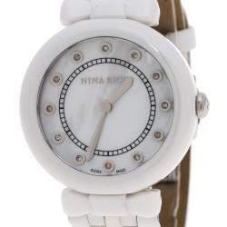 Nina Ricci White Mother of Pearl and Diamonds Ceramic N054004SM Women's Wristwatch 38 mm