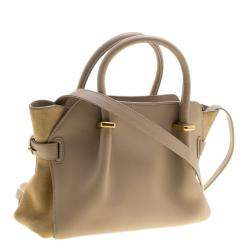 Nina Ricci Beige Leather and Suede Small Marche Tote