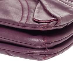 Nina Ricci Purple Leather Pleated Bow Flap Shoulder Bag