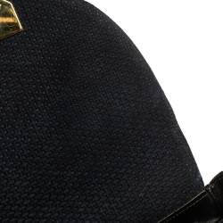 Nina Ricci Dark Blue Woven Suede and Leather Flap Shoulder Bag