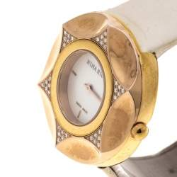 Nina Ricci White Mother Of Pearl Gold Plated Steel Diamonds N024.83 Women's Wristwatch 36 mm