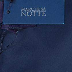 Notte By Marchesa Navy Blue Strapless Satin and Silk Dress L