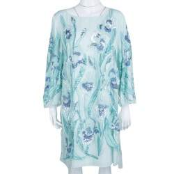 Notte By Marchesa Light Blue Embroidered Embellished Long Sleeve Tulle Dress M