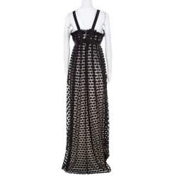 Notte By Marchesa Black Polka Dotted Tulle Bow Detail Gown M