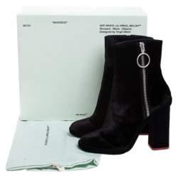 Off-White Black Velvet Block Heel Ankle Boots Size 38