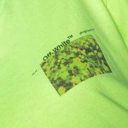 Off-White Fluorescent Yellow Printed Cotton T-Shirt S