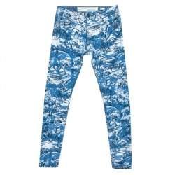 Off-White Blue Tapestry Pattern Printed Denim Skinny Jeans S