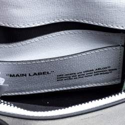 Off-White White/Black Diag Print Leather Binder Clip Crossbody Bag