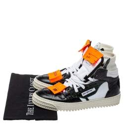 Off-White White/Black Leather and Canvas Off Court 3.0 Sneakers Size 38