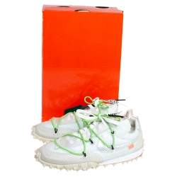 Off-White x Nike Electric Green Nylon And Suede Waffle Racer Low Top Sneakers Size 40