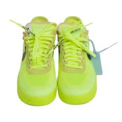 Off-White x Nike Neon Yellow Mesh And Fabric Air Force 1 Volt Sneakers Size 38