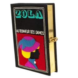 Olympia Le Tan Black Canvas and Brass Zola Book Clutch