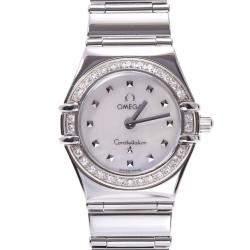 Omega White Diamonds Stainless Steel Constellation 1465.71 Women's Wristwatch 22.5 MM