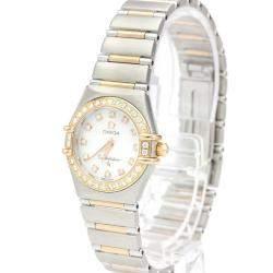 Omega MOP Diamonds 18K Rose Gold And Stainless Steel Constellation Quartz 1360.75 Women's Wristwatch 26 MM