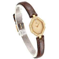 Omega Champagne Diamonds 18K Yellow Gold DeVille Mini Cocktail 1450 Women's Wristwatch 22 x 18 MM