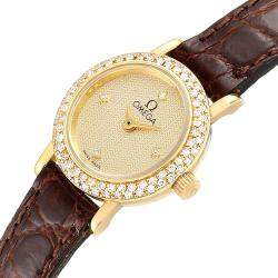 Omega Champagne Diamonds 18K Yellow Gold DeVille Cocktail 1450 Women's Wristwatch 18.5 MM