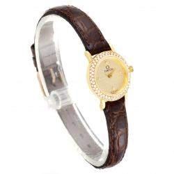 Omega Champagne Diamonds 18K Yellow Gold DeVille Cocktail 1450 Women's Wristwatch 18.5 MM