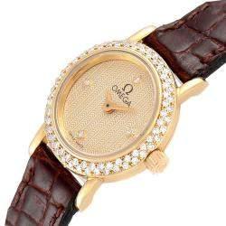 ساعة يد نسائية أوميغا دي فيل كوكتيل 1450 ذهب أصفر عيار 18 ألماس شامبانيا 18.5 مم