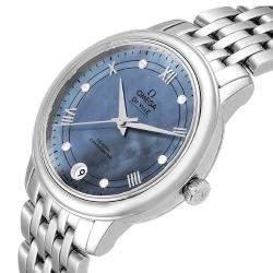 Omega MOP Diamonds Stainless Steel DeVille Prestige 424.10.33.20.57.001 Women's Wristwatch 33 MM