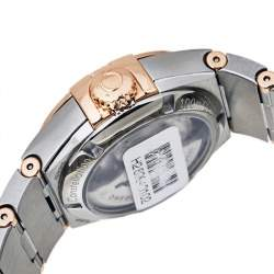 Omega Mother Of Pearl 18K Rose Gold Stainless Steel Diamond Constellation Co-axial Chronometer 123.25.27.20.55.006 Women's Wristwatch 27 mm