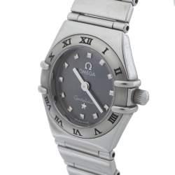ساعة يد نسائية أوميغا كونستليشن ماي شويز ميني ستانلس ستيل رمادية 22.5 مم