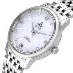 Omega White MOP DeVille Prestige Butterfly Diamond 424.10.33.20.55.001 Women's Wristwatch 32.7 MM