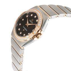 Omega Brown Diamonds 18K Rose Gold And Stainless Steel Constellation 123.25.27.60.63.001 Women's Wristwatch 27 MM