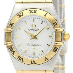 Omega Silver 18k Yellow Gold And Stainless Steel Quartz Constellation 1262.70 Women's Wristwatch 22 MM