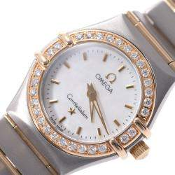 Omega MOP Diamonds 18K Yellow Gold And Stainless Steel Constellation 1267.70 Quartz Women's Wristwatch 22 MM