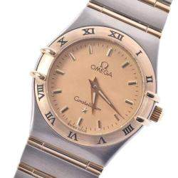 Omega Champagne 18K Yellow Gold And Stainless Steel Constellation 1262.10 Quartz Women's Wristwatch 24 MM