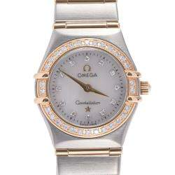Omega MOP Diamonds 18K Yellow Gold And Stainless Steel Constellation 1267.75 Quartz Women's Wristwatch 21 MM