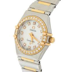 Omega MOP 18K Yellow Gold & Stainless Steel Diamond Constellation 895.1203 Women's Wristwatch 22 mm