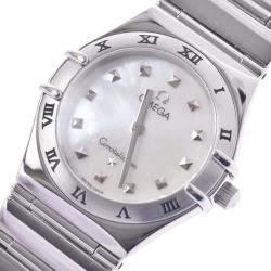 """ساعة يد نسائية أوميغا """"كونستلاشون 1571.71"""" كوارتز ستانلس ستيل و صدف 25 مم"""