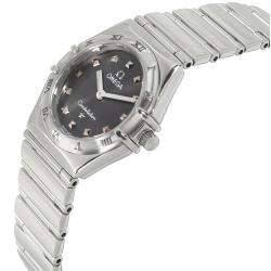 """ساعة يد نسائية أوميغا """"كونستلاشون 1571.51.00"""" ستانلس ستيل رصاصية 24 مم"""