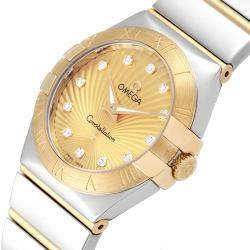 Omega Champagne Diamonds 18K Yellow Gold And Stainless Steel Constellation 123.20.27.60.58.002 Women's Wristwatch 24 MM