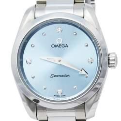 Omega Blue Diamonds Stainless Steel Seamaster Aqua Terra 220.10.28.60.53.001 Women's Wristwatch 28 mm