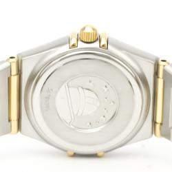 Omega MOP Diamonds 18K Yellow Gold And Stainless Steel Constellation 1267.70 Quartz Women's Wristwatch 22 MM