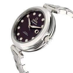 Omega Purple Stainless Steel Ladymatic 425.30.34.20.60.001 Women's Wristwatch 34 MM