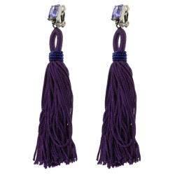 Oscar de la Renta Purple Crystal Long Tassel Clip-on Earrings