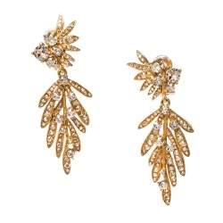 Oscar de la Renta Crystal Tropical Palm Clip-On Earrings