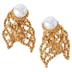 Oscar de la Renta Twisted Gold Tone Pearl & Crystal Clip On Earrings